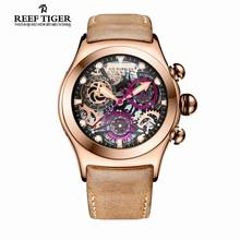 Reef Tiger RT Chronograph Sport Watches for Men Skeleton Dial with Date Three Counters Design Luminous