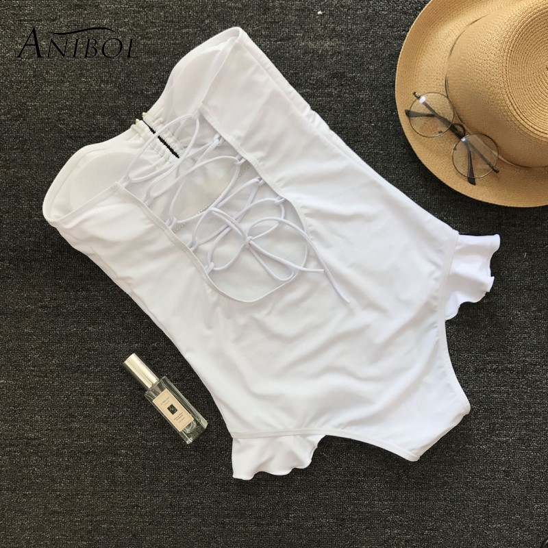 Anibol Push Up Women White Swimsuit Sexy Girls Floral One Piece Swimwear Strapless Female Bathing Suit Monokini
