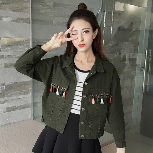 Women's   Basic     Jacket   Coat Plus Size S-2XL Army Green Camouflage Coats Zip Cardigans Denim Outwear Bomber Casaco Feminino Jaqueta
