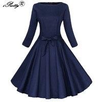 Audrey Hepburn Style Retro 50s Vintage Dress Pin Up Rockabilly Black Blue Long Sleeve Big Swing