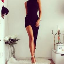 Sexy Sleeveless asymmetrical Bodycon black Dress R88