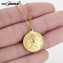 Cxwind Fashion Gold Color Round Coin Necklaces & Pendants for Women Portrait Dollar Charm Necklace Chain Jewelry Gifts collares(China)