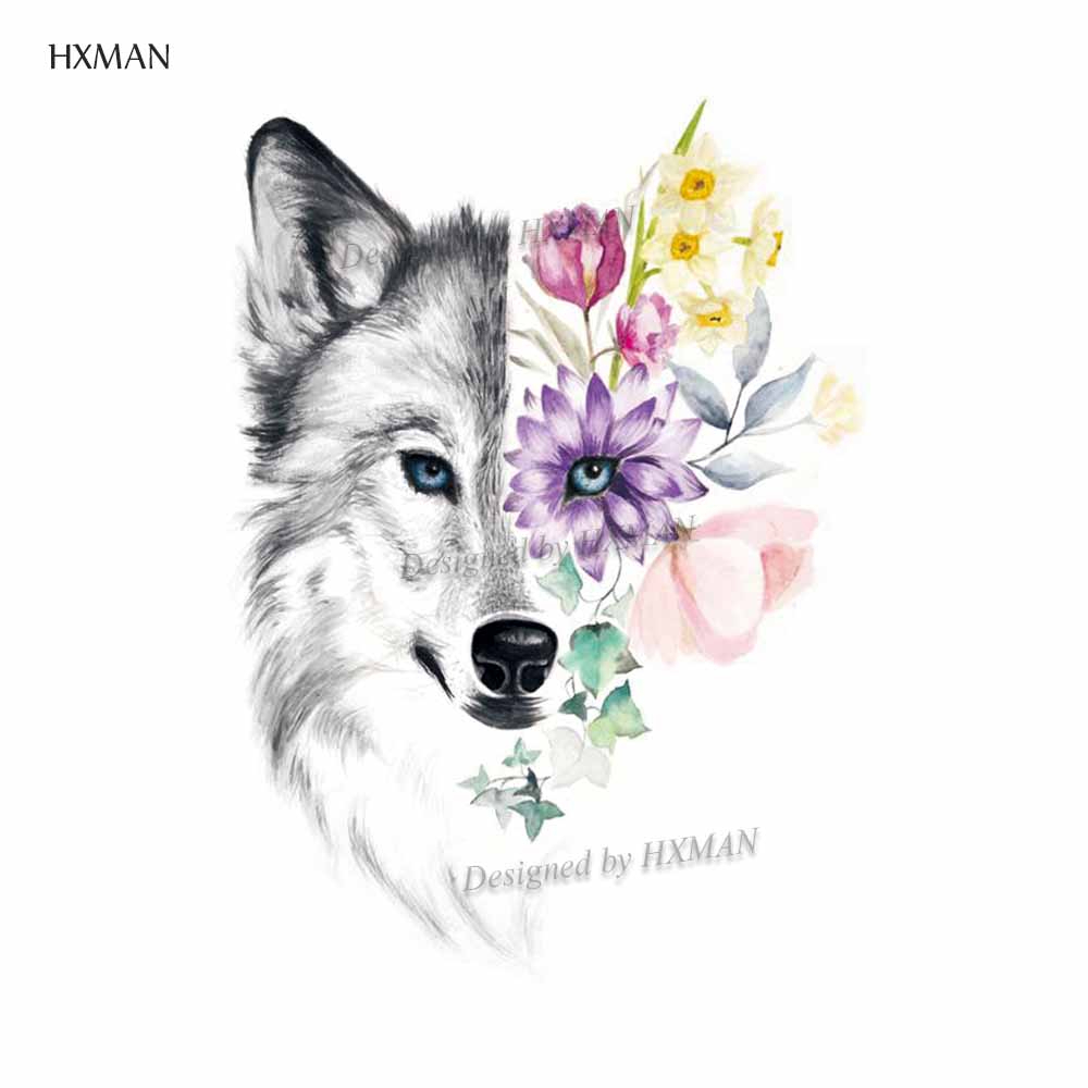 HXMAN Wolf Animal Temporary Tattoo Sticker Waterproof Women Fashion Fake Body Art 9.8X6cm Kids Hand Tattoos Hot Design A-152