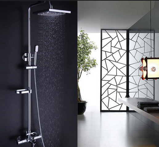 Bathroom Shower Set Brass Chrome Wall Mounted Shower Faucet Square - Water-saving-set-for-the-bathroom