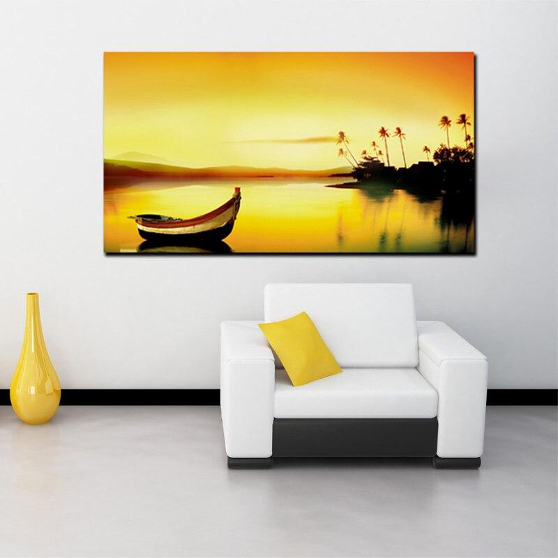 Rumah Pantai Boat Sunset Gambar Pemandangan Indah Kanvas Cetak Lukisan