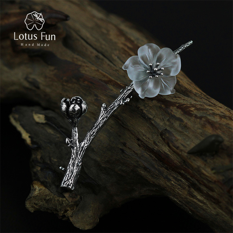 Lotus Fun Real 925 Sterling Silver Natural Quartz Designer Handmade Fine Jewelry Flower in the Rain Design Women Brooches Pin lotus fun real 925 sterling silver handmade fine jewelry natural crystal lily of the valley flower brooches for women brincos