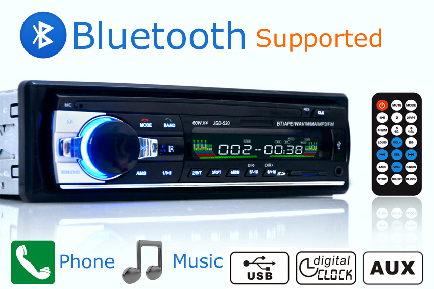 Новый автомобиль Радио стерео-плеер Bluetooth AUX-в MP3 FM/USB/1 DIN/Remote Управление для iPhone 12 В Аудиомагнитолы автомобильные авто Поддержка смартфон