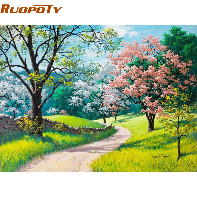 RUOPOTY Cornice Cherry Blossoms Strada FAI DA TE Pittura By Numbers Kit Dipinto A Mano Pittura A Olio Home Decor Wall Art Immagine 40x50 CM