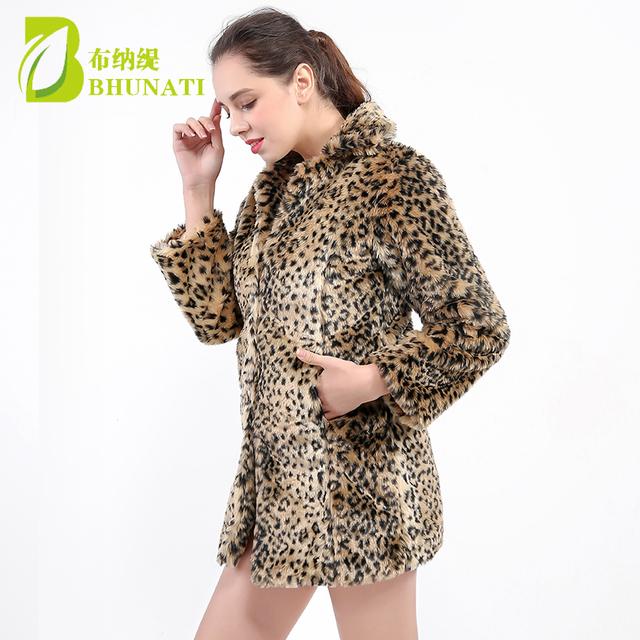 2018 Winter Warm Women's Faux Fur Coat Natural Leopard Sexy Fur Coat Jacket O Neck Full Thicken Stylish Outwear coats 140