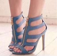 Drop Shipping Woman Blue Jeans Peep Toe Cuts Out Zipper Front Thin Heels Casual High Heel Sandals Big Size 43