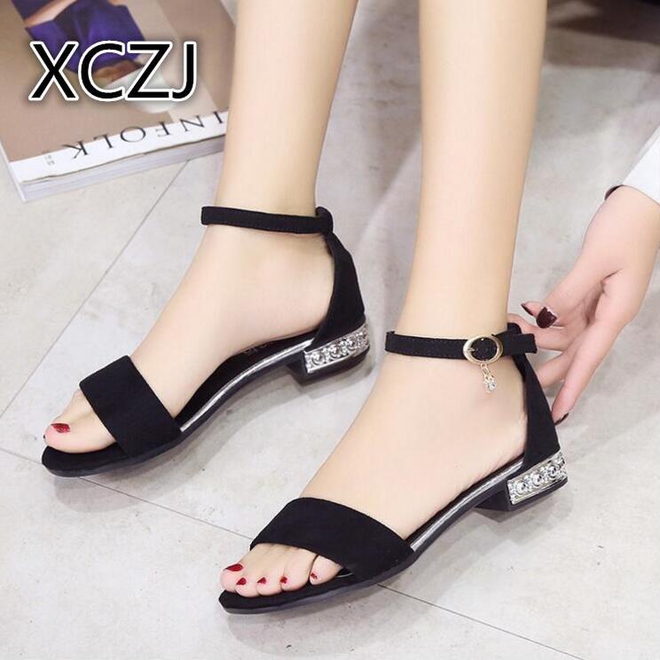 XCZJ Korean Style 2018 Summer Women Sandals Open Toe Flip Flops Women's Flat Sandle With low Women Shoes Gladiator student Shoes 1