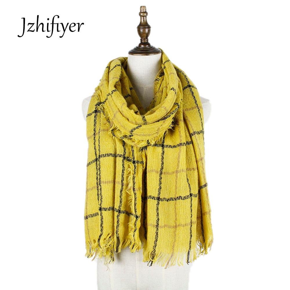 Jzhifiyer YX184 doux foulards à carreaux conception 70 200 cm acrylique  hiver long Châle bleu vert anneau écharpes col écharpe femmes doux 07952956378