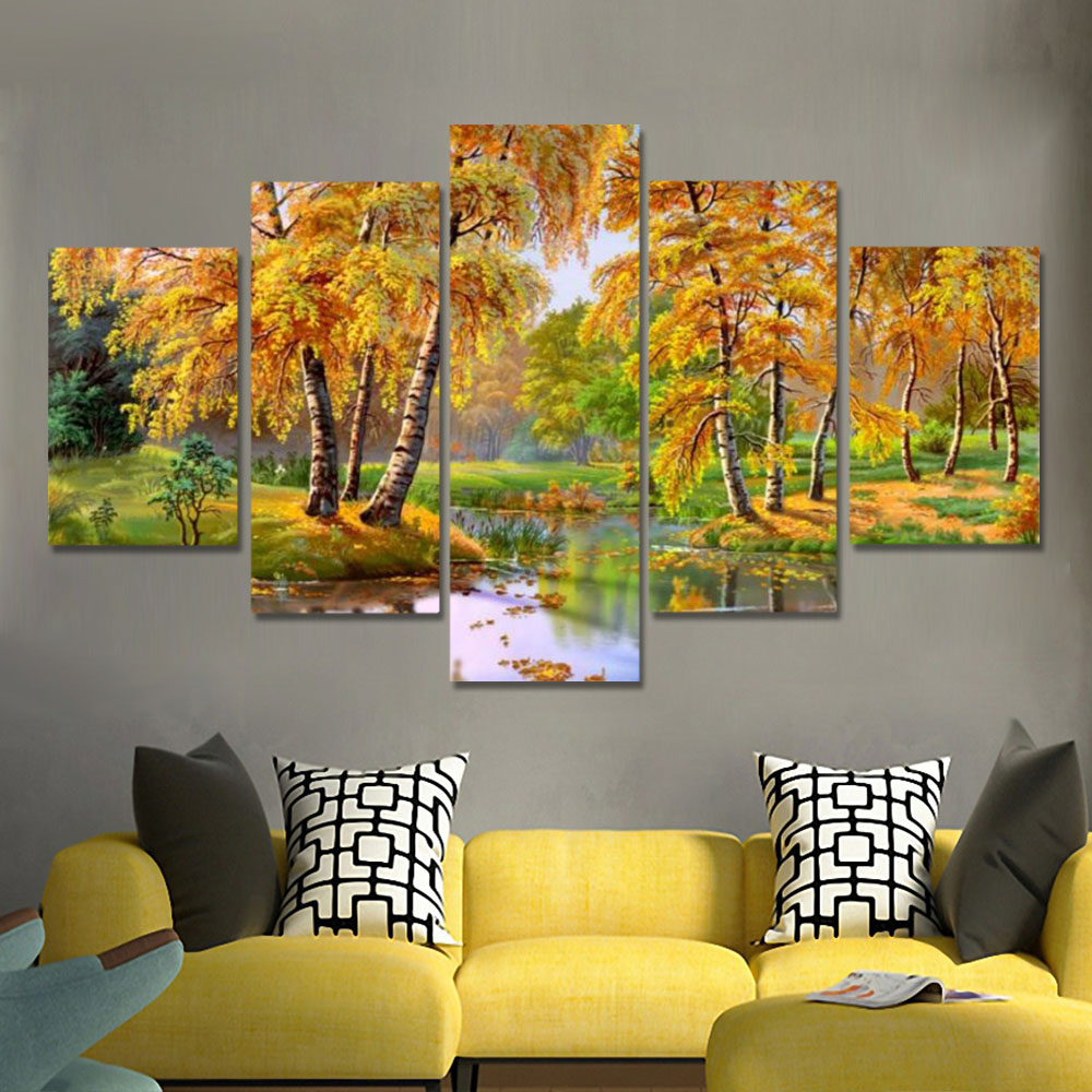 Unframed HD Canvas Prints Autumn River Scenery Yellow Leaves Trees Prints Wall Pictures For Living Room Wall Art Decoration