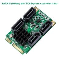 4 Port SATA III 6G Mini PCIE Mini PCI e Marvel 88SE9215 Controller Karte SATA 3 0 mini PCI Express SSD Adapter Karte-in Gebäudeautomation aus Sicherheit und Schutz bei