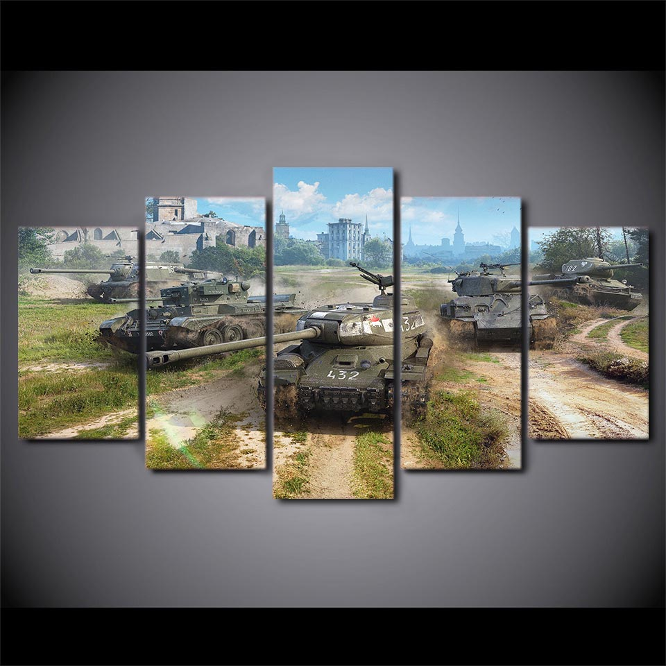 Home Decoration Living Room Pictures Framework HD 5 Panel World Of Tanks Game Wall Art Painting Modular Printed Modern Canvas 1