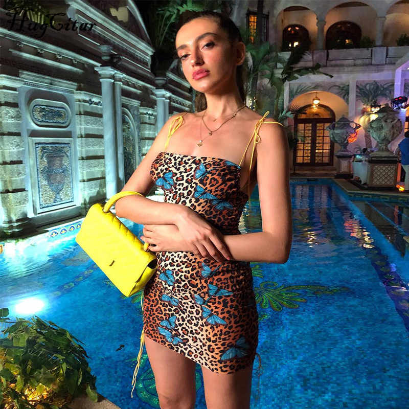 Hugcitar luipaard print backless sexy bodycon mini jurk 2019 zomer vrouwen mode slash hals slip party streetwear kleding