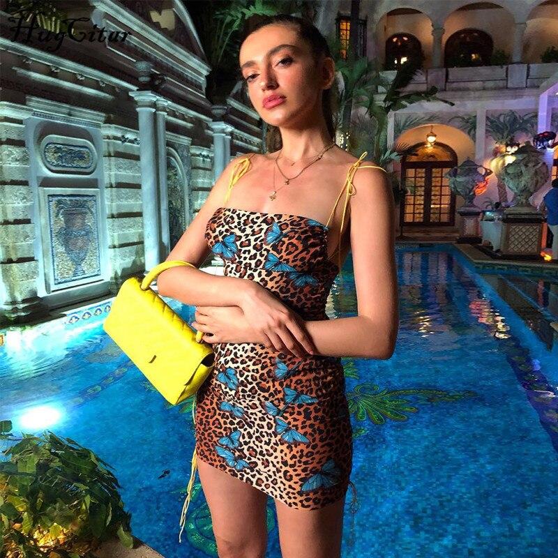 Hugcitar estampa de leopardo sem encosto sexy bodycon mini vestido de 2019 mulheres verão moda de slash neck partido deslizamento roupas streetwear