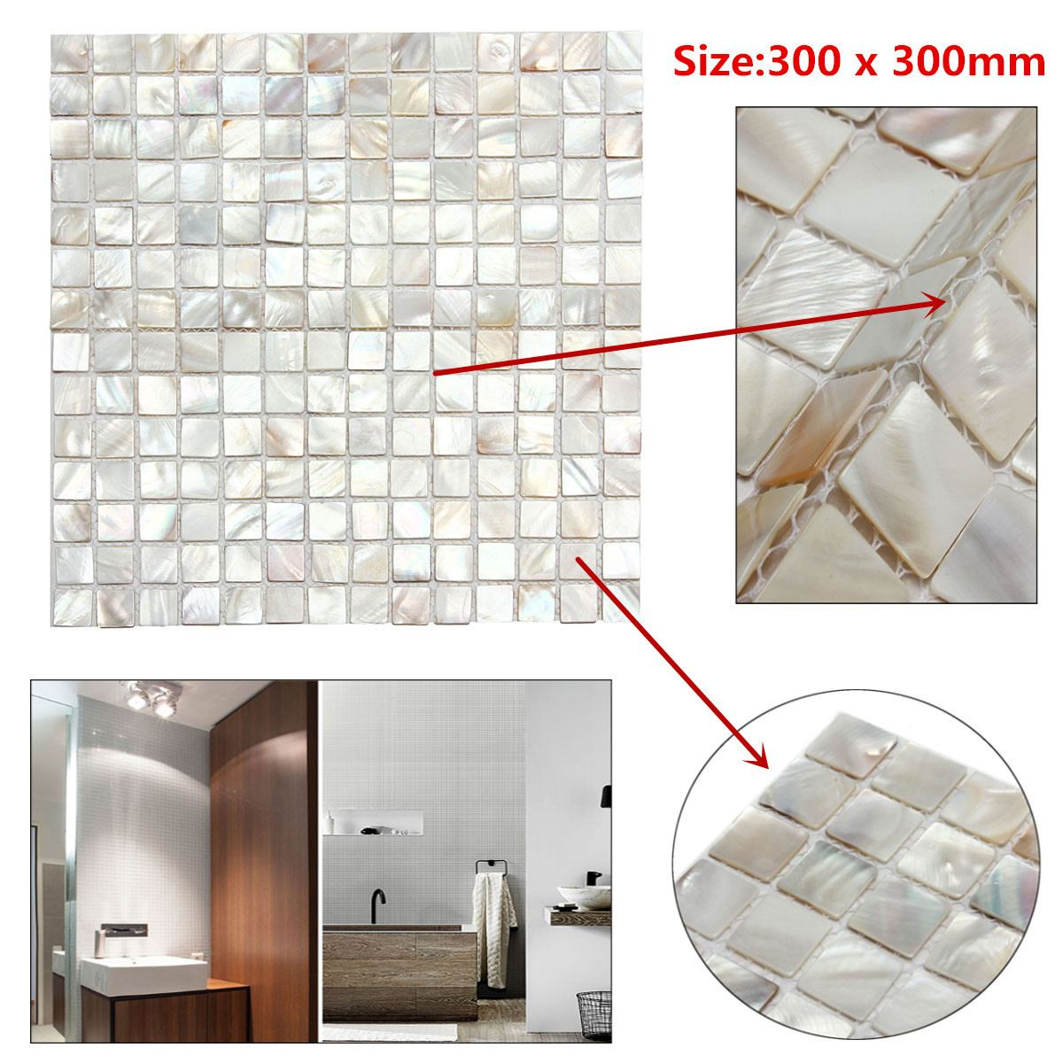 - White Square Shell Tiles Natural Mother Of Pearl Kitchen