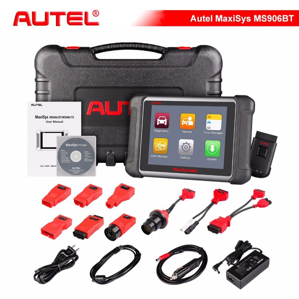 Оригинал AUTEL MaxiSys MS906BT Беспроводной автомобиля диагностический инструмент MS906 BT OBD2 ЭБУ кодирования сканер лучше, чем MaxiDAS DS708 DS808