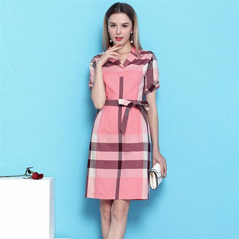 2019 European style Summer Womens Vestidos Elegant Vintage Casual Business Office Dress Lady Plaid Print Lapel Belt slim Dresses-in Dresses from Women's Clothing    2