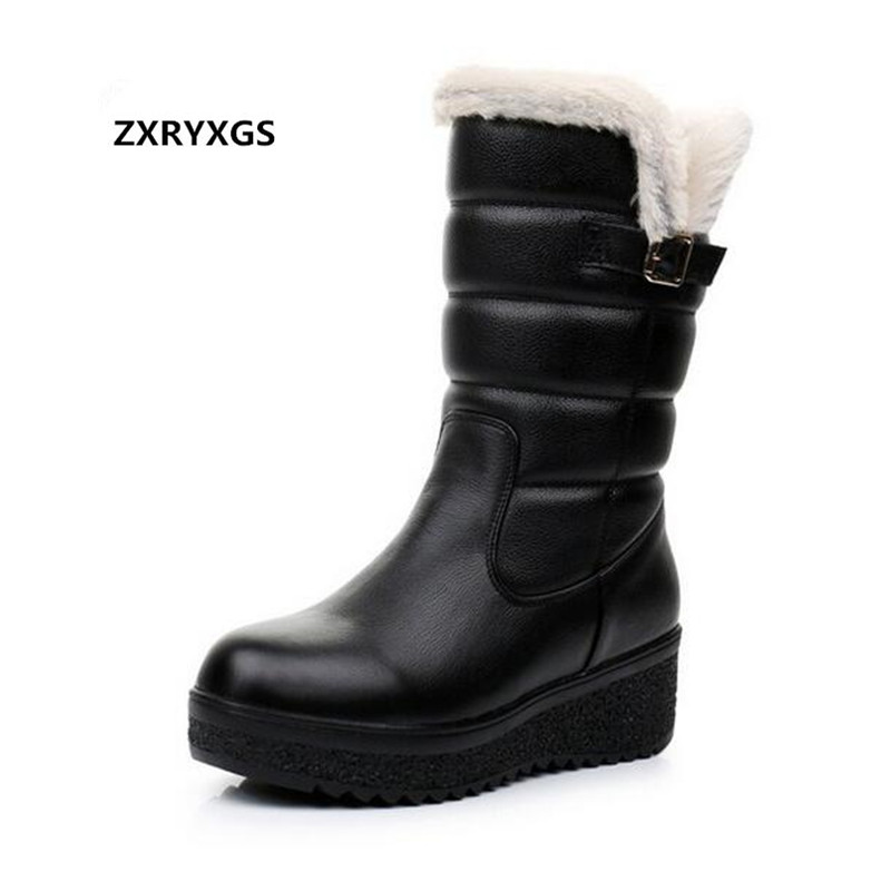 HOT 2019 New Large Size Thick bottom Winter Boots Women Shoes Cowhide Plush Warm Shoes Woman