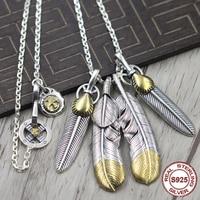S925 стерлингового серебра Цепочки и ожерелья подвеска личность поп стиль перо серии Eagle крест колеса властная моделирование отправить подар