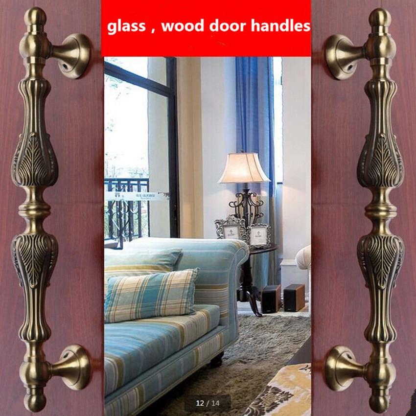 295mm European Vintage door handle antique brass glass wood big gate pull bronze Hotel Ktv Home office door hardware handle