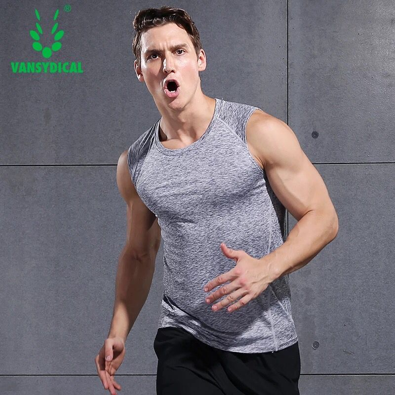 Vansydical Men Running Vests Quick Dry Compression Tights Gym Tank Top Sportswear Fitness Sleeveless T-shirts Sport Running Vest crazyfit mesh hollow out sport tank top women 2018 shirt quick dry fitness yoga workout running gym yoga top clothing sportswear