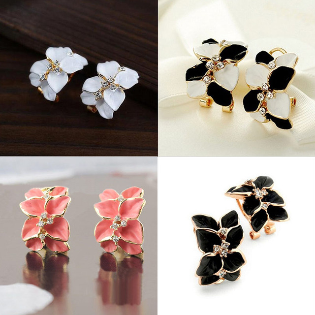 Good Sale Exquisite Leaves Retro Lady Earrings With Buckle Earrings For Women Gardenia  Flowers Gift