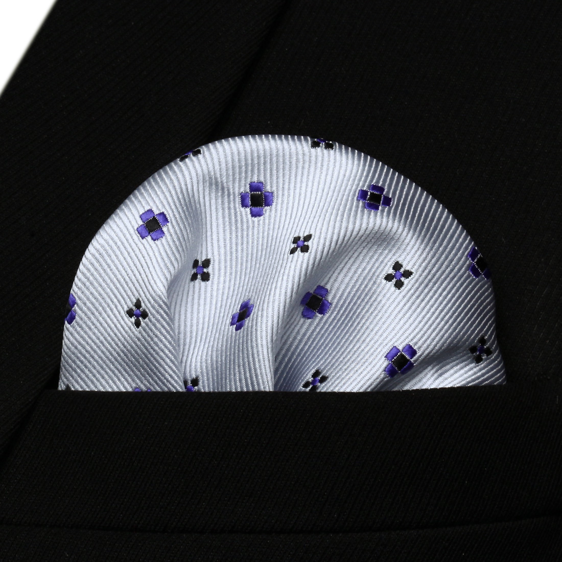 HF608W White Purple Black Floral Men Silk Party Handkerchief Pocket Square Hanky