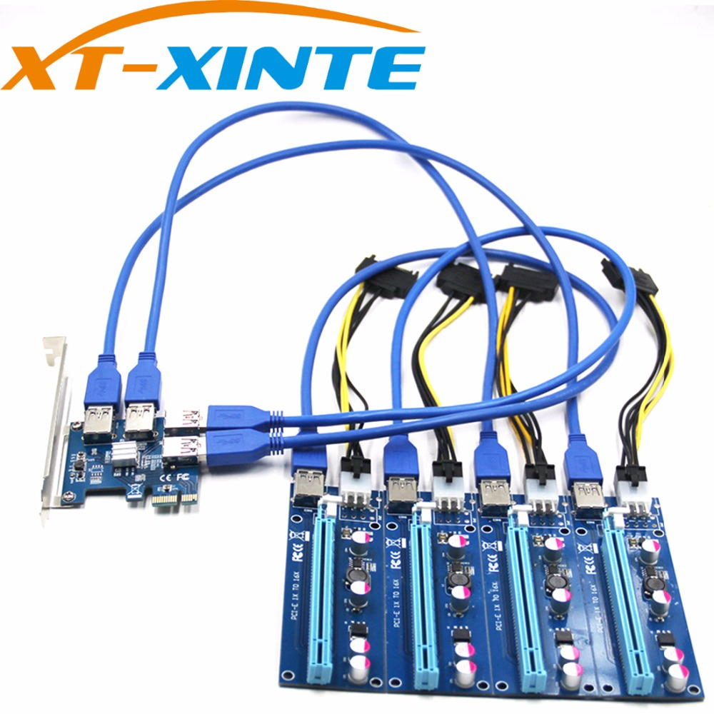 NEW Add in Card PCIe 1 to 4 PCI Express 16X Slots Riser Card PCI-E 1X to External 4 PCI-e Slot Adapter PCIe Port Multiplier Card 4 slots pci e 1 to 4 pci express 16x slot external riser card adapter board pcie multiplier card for btc miner