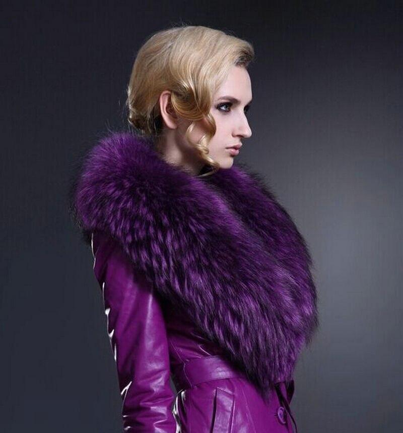 Livraison gratuite colliers personnalisé grande écharpe de fourrure couleur col de fourrure echarpes violet fourrure de raton laveur écharpe grand col