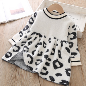 Image 1 - Toddler Sweater Dress 2019 Kids Sweaters Winter Leopard Crystal Children Sweater Dress Toddler Dresses Sweater For Kids