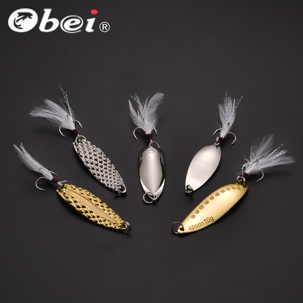 Obei Fishing Lures   Baits Spoons Artificial Bass Hard Sequin  Metal Steel Hook Tackle Lures