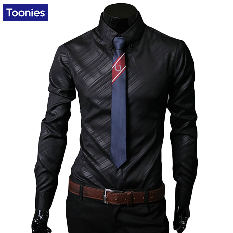 Brand Business Mens Shirts Imported Fabric Twill Men Long Sleeved Shirt Solid Fitness Formal Slim Chemise Homme Leisure Style