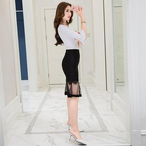tingyili black pencil skirt sexy ladies lace transparent tight