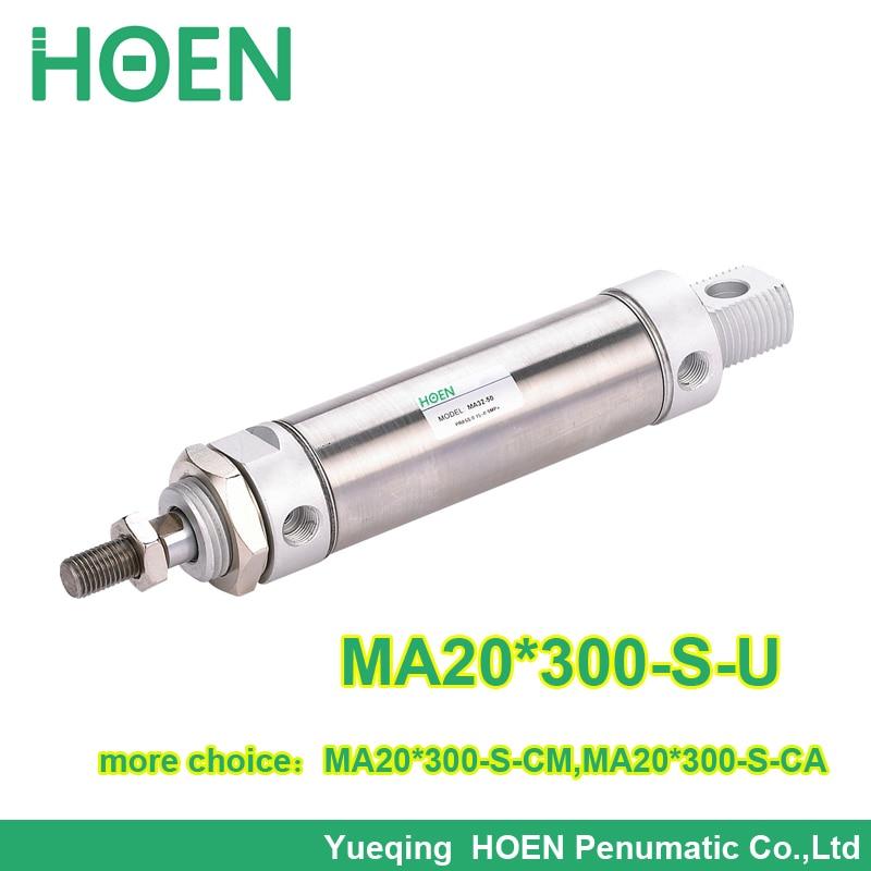 MA20-300 Airtac type MA Series Stainless Steel Mini Cylinder 20mm bore 300mm stroke MA20*300 -S-U original airtac mini cylinder stainless steel ma series ma16x85su