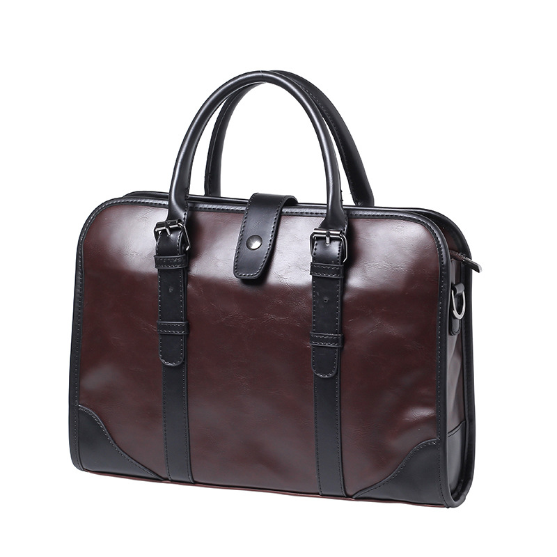 Brand Casual Men Briefcase Crazy Horse PU Leather Men's Messenger Shoulder Bag Male Laptop Bag Business Portfolio Bags For Men