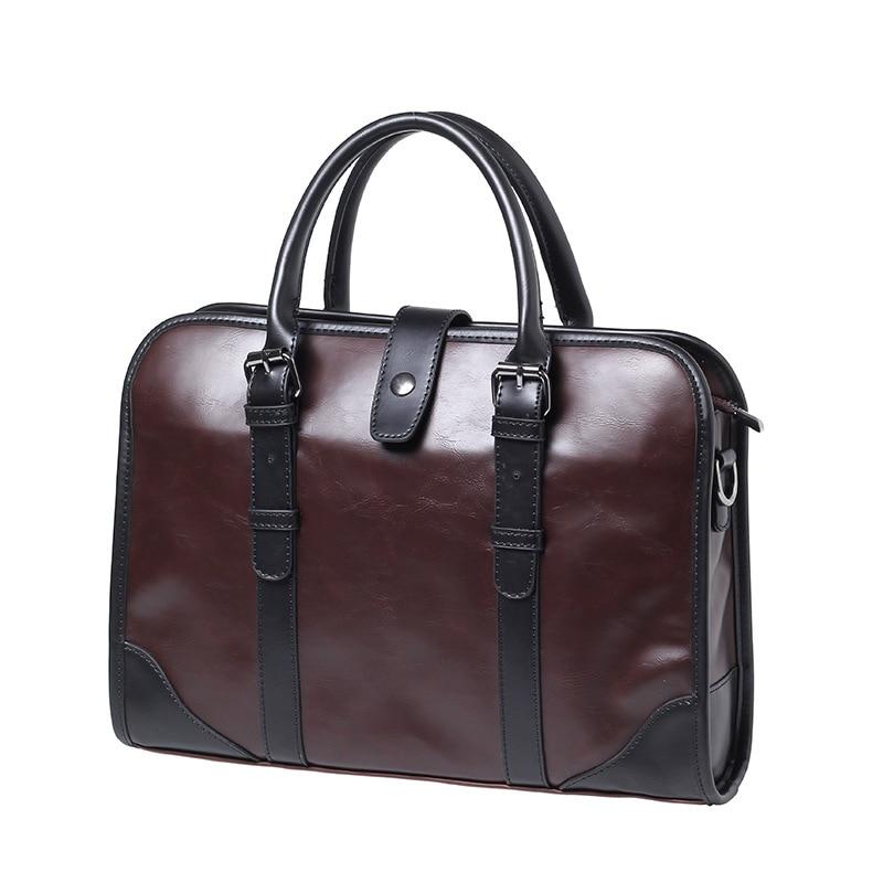 Brand Casual Men Briefcase Crazy Horse PU Leather Men's Messenger Shoulder Bag Male Laptop Bag Business Portfolio Bags For Men цены онлайн