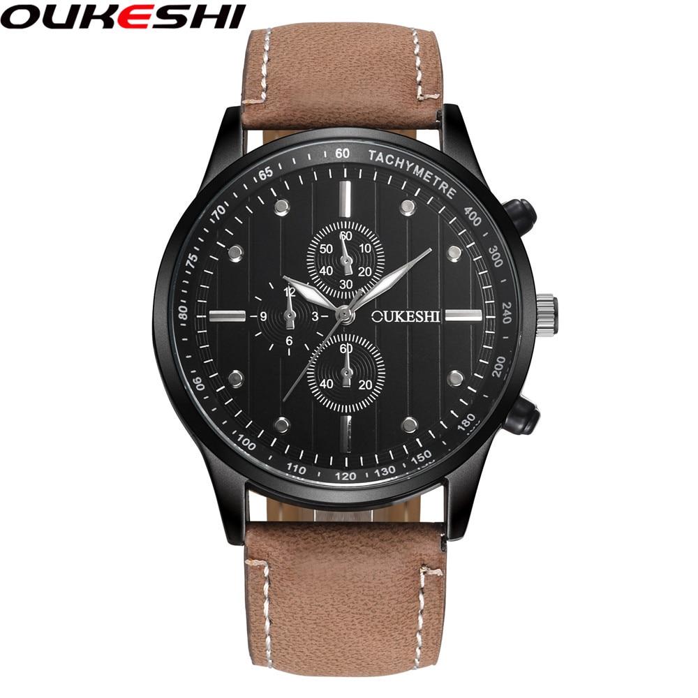 OUKESHI Marca de Moda Hombres Reloj Deportivo Casual de Cuero Reloj - Relojes para hombres