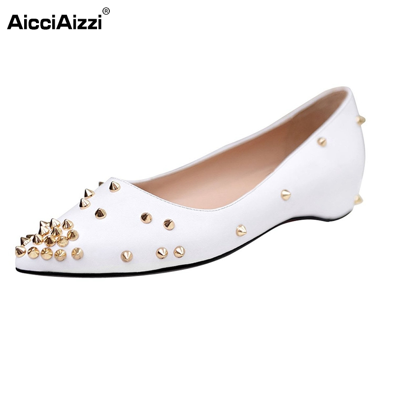 Women Boat Shoes Flats Ladies New Design Rivets Pointed Toe Brand Quality Leisure Flats Shoes Woman Size 35-46 B274 new 2017 spring summer women shoes pointed toe high quality brand fashion womens flats ladies plus size 41 sweet flock t179