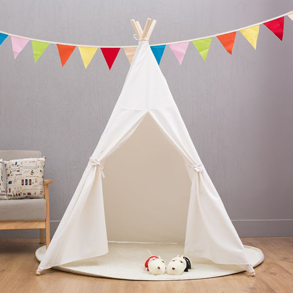 Four Poles Indian Play Tent Cartoon Children Teepees Kids Tipi Tent Cotton Canvas Teepee White Play House for Baby Room tipi tent kinderkamer