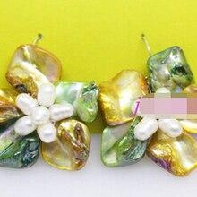 Shitou 00308 настоящее white pearl ручной работы желтый зеленый оболочки 50 мм цветок Падения/Мотаться серьги скидка 40