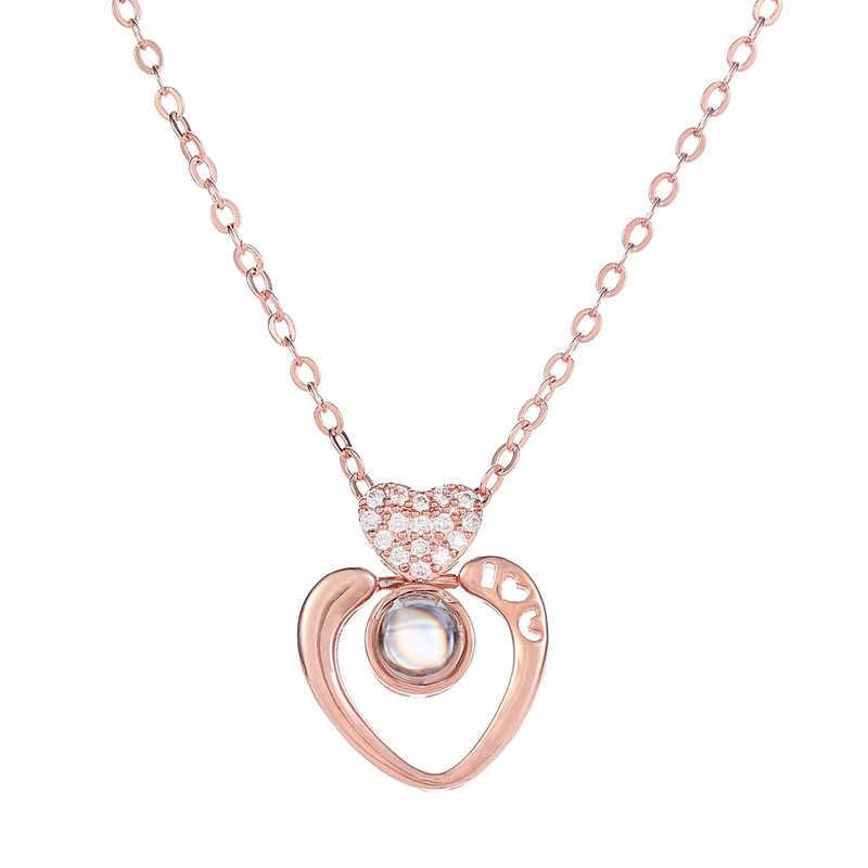 Цепочки и ожерелья jewelry Новый 100 языков я тебя люблю День Святого Валентина Присутствует памятная цепочка женское ожерелье, бохо длинные Цепочки и ожерелья femme