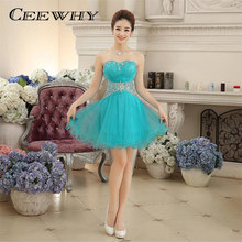CEEWHY Real Photos Sweetheart Crystal Beading Strapless Ball Gown Women Party Short Cocktail Dresses Elegant Party Fromal Dress