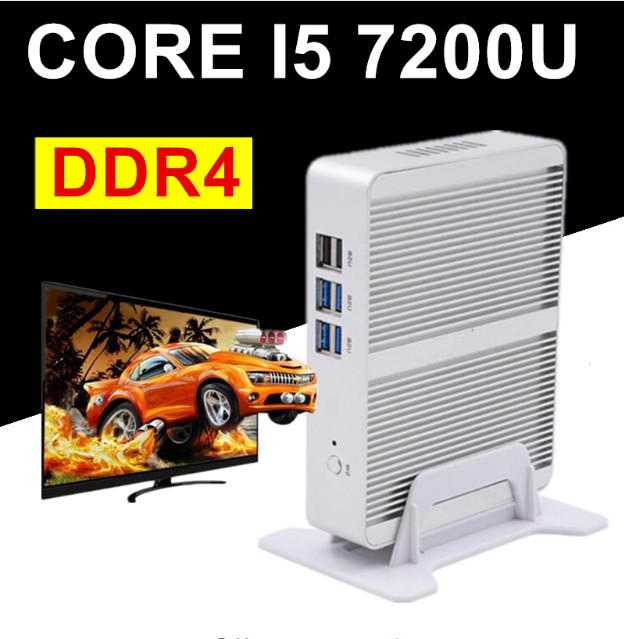 Intel Core I7 CPU Core I5 7200U DDR4 I3 7100U Barebone Mini PC Windows 10 Fanless PC Win7 Linux HTPC VGA HDMI Gigabit Lan