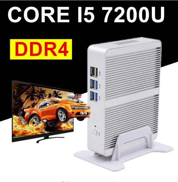 Intel Core I7 CPU Core I5 7200U DDR4 I3 7100U Barebone Mini PC Windows 10 Fanless PC Win7 Linux HTPC VGA HDMI Gigabit Lan
