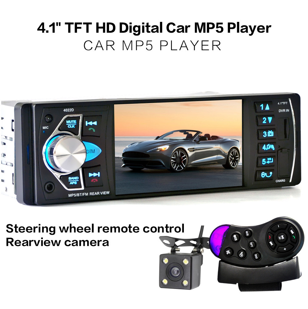 Prix pour 4.1 pouce De Voiture MP5 Lecteur 12 V De Voiture Vedio Radio TFT Écran Bluetooth/Vue Arrière Caméra/Stéréo FM Radio/MP4/MP5/Audio/Vidéo/USB/SD/TFT