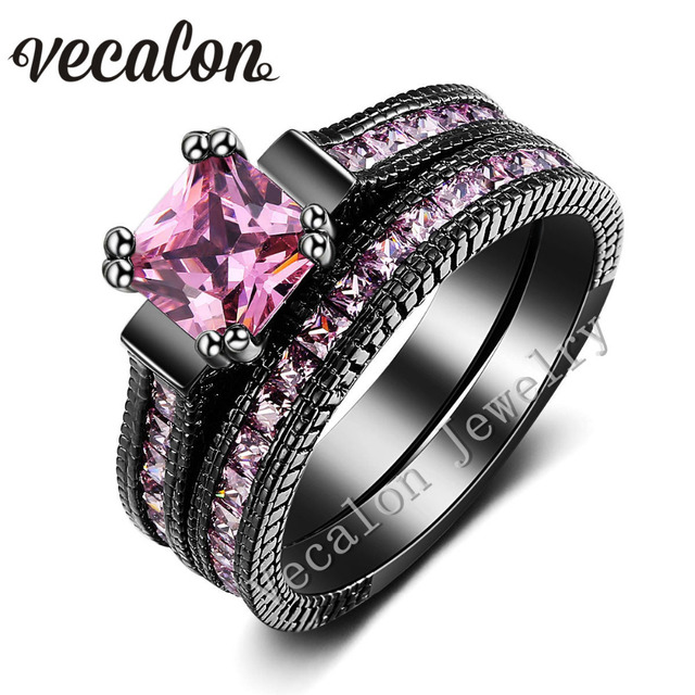 vecalon vintage wedding band ring set for women pink stone aaaaa zircon cz 14kt black gold - Black And Pink Wedding Ring Sets