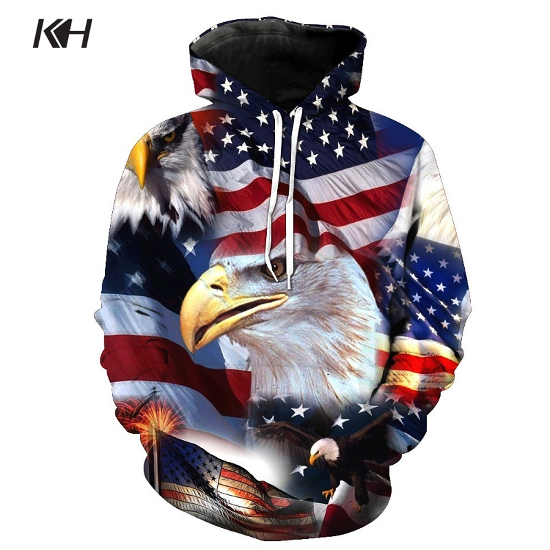 Devin Du 2018 New Hoodies Man New Year Fireworks American Flag Eagle Hoodie Casual Hooded Sweatshirt Pullover Drop Ship Men's Clothing